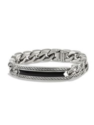 David Yurman Maritime Onyx And Sterling Silver Curb Link Id Bracelet