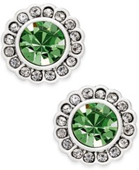 Vera Bradley Silver Tone Pave Color Stud Earrings Green