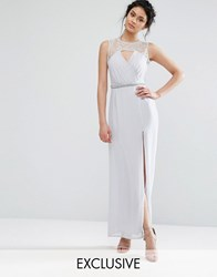 Elise Ryan Sweetheart Lace Maxi Dress With Embellished Waist Grey