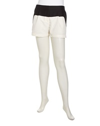 Stella And Jamie Two Tone Crepe Shorts Gardenia Black