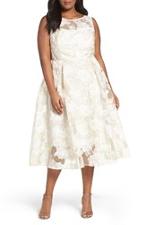 Adrianna Papell Plus Size Women's Floral Organza Midi Dress