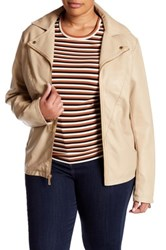 Kenneth Cole Faux Leather Moto Jacket Plus Size Beige