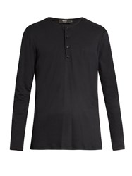 Helbers Long Sleeved Brushed Cotton Henley Top Black