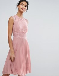 Elise Ryan Pleated Midi Dress With Eyelash Lace Sleeves Pale Mauve Pink