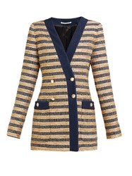 Alessandra Rich Double Breasted Striped Tweed Jacket Black Gold