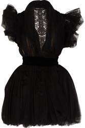 Ronald Van Der Kemp Tutu Velvet Trimmed Lace And Tulle Mini Dress Black