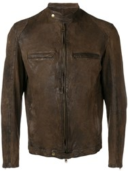Salvatore Santoro Distressed Leather Jacket Brown