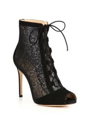 Gianvito Rossi Rebecca Lace And Suede Lace Up Peep Toe Booties Black