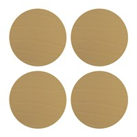 Amara Round Leather Coasters Set Of 4 Gold