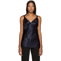 Helmut Lang Navy Twist Knot Tank Top