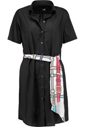 Love Moschino Belted Cotton Blend Shirt Dress Black