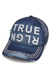 True Religion Men's Brand Jeans Denim Trucker Hat Blue Dark Indigo