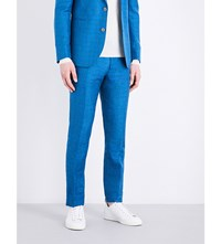 Paul Smith Checked Slim Fit Mid Rise Trousers Aqua Blue