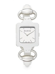 Gucci 1921 Leather And Stainless Steel Square Bangle Watch Silver