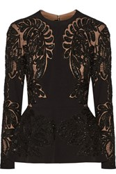 Elie Saab Embellished Crepe And Organza Top Black