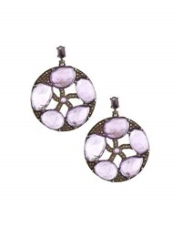 Bavna Round Amethyst And Champagne Diamond Drop Earrings