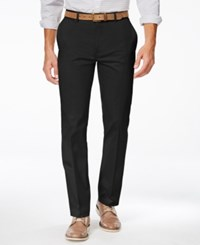 Alfani Men's Slim Sateen Flat Front Pants Only At Macy's Deep Black