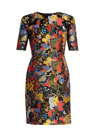 Mary Katrantzou Mayfield Short Sleeved Jacquard Dress Black Multi