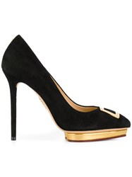 Charlotte Olympia Platform Pumps Leather Suede Black