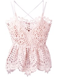 Perseverance London Lace Peplum Camisole Top Pink Purple