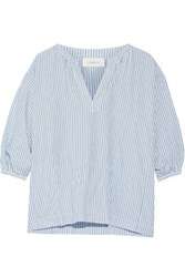 The Great Striped Cotton And Linen Blend Blouse Azure