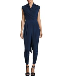 Catherine Malandrino Sleeveless Ruched Cuffs Self Belt Jumpsuit Navy