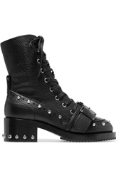 N 21 No. Studded Textured Leather Biker Boots Black