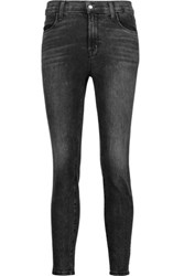 J Brand Alana High Rise Cropped Faded Skinny Jeans Black
