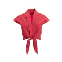 Wtr Red Paper Touch Tie Front Crop Top