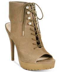 Bar Iii Emiko Lace Up Suede Heels Only At Macy's Women's Shoes Taupe Grey