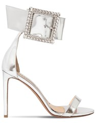 Alexandre Vauthier 100Mm Yasmin Leather Sandals W Crystals Silver
