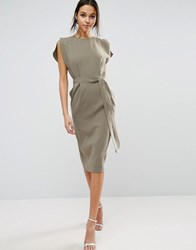 Asos Belted Midi Dress With Split Cap Sleeve And Pencil Skirt Khaki Green
