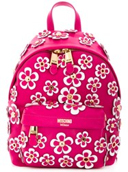 Moschino Daisy Applique Backpack Women Leather Metal One Size Pink Purple