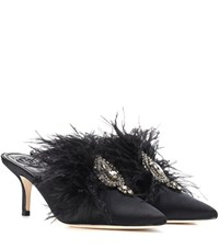 Tory Burch Elodie Embellished Satin Mules Black