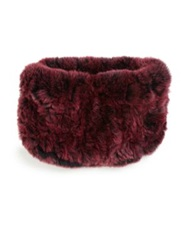 Surell Rabbit Fur Knit Headband Black Cherry