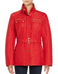 Michael Michael Kors Missy Snap Front Quilted Jacket Red