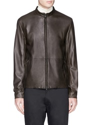 Theory 'Arvid L' Leather Jacket Brown