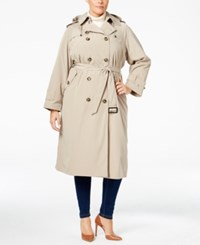 London Fog Plus Size Double Breasted Hooded Trench Coat Khaki