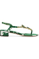 Dolce And Gabbana Embellished Printed Patent Leather Sandals Green