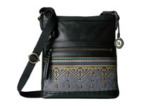 The Sak Pax Swing Pack Black Embroidered Felt Cross Body Handbags