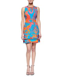 Roberto Cavalli Abstract Floral Brocade Mesh Inset Dress Women's