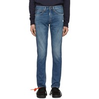 Off White Blue Diag Slim Jeans