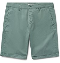 Nn.07 Nn07 Crown Garment Dyed Stretch Cotton Twill Shorts Gray Green