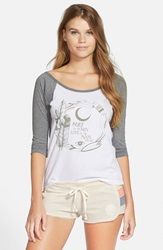 Rip Curl 'Moonlight Surfer' Graphic Baseball Tee Juniors Heather Grey