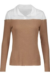 Bailey 44 Two Tone Cotton Blend Paneled Jersey Sweater Camel