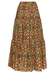 La Doublej Editions The Confetti Print Big Skirt Green Multi