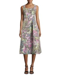 Kay Unger New York Sleeveless Muted Floral Print Dress Women's
