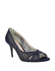 Nina Fresh Glitter Mesh Open Toe Pumps Navy