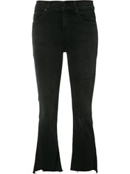 Mother Frayed Cropped Jeans Black