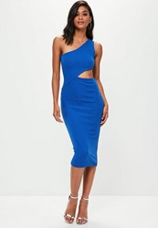 Missguided Blue One Shoulder Cut Out Waist Midi Dress